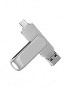 Pendrive 32GB USB + Micro USB OTG metalico, giratorio