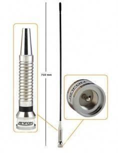 JETFON Antena Movil CB/27 M-1100 Conector PL 259 rigida negra con resorte 2db, 150w, 710 cm