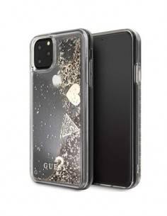 GUESS Funda IPHONE 11 Pro Trasera Rigida Transparente Glitter Purpurina Dorada