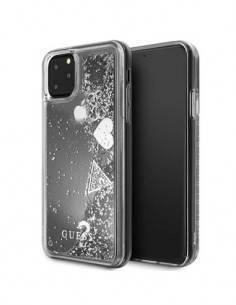 GUESS Funda IPHONE 11 Pro Max Trasera Rigida Trasnparente Con Purpurina Liquida Glitter Plata