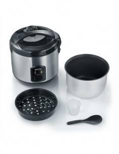 SEVERIN 2 en 1 Cocedor de Arroz/Cocina a Vapor RK2425 Acero Inoxidable, 3L, 650W