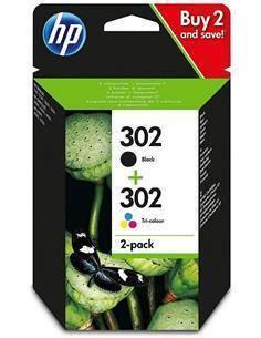 HP Pack 302 Negra + 302 Tricolor Para Deskjet 1110,2130,3630,Officejet 3830,3835,4650,5230