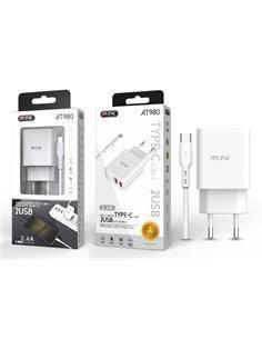 MTK Cargador Red 2XUsb 2.4A + Cable Datos Tipo-C AT980 Blanco
