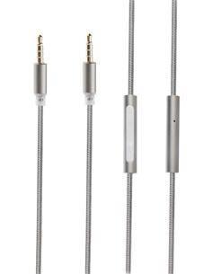 MUVIT Cable Audio Jack Estereo 4 Pin 3.5mm M/M Con Microfono Integrado 1.5Mtr Nylon Gris