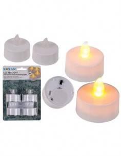 ROXAN Pack de 4 Velas Con Luz Led Blanca Calida Parpadeante 4Cm