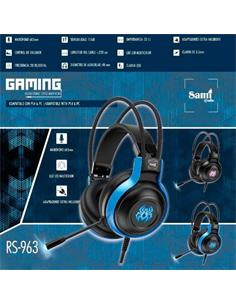 SAMI Auricular Gaming Con Microfono Jack 3.5mm/Usb RS-963 Para PS4 y PC Con Luces led