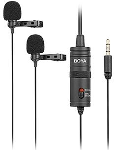 BOYA Microfono de Solapa Doble Lavalier Omnidirecional BY-M1DM Para Smartphone,Tableta Ca Jack 3.5mm