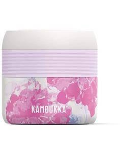 KAMBUKKA Termo de Comida BORA 400ml Flor Rosa 6h Caliente BPA Free Con Ventilacion Para Vapor