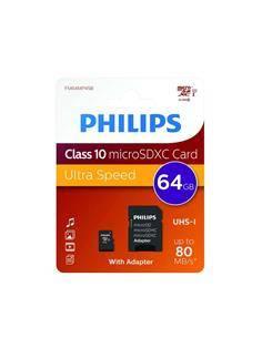 PHILIPS Tarjeta Memoria Micro SDHC 64GB Con Adaptador UHS-I Clase 10 A1 80Mb/s
