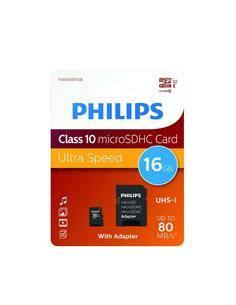 PHILIPS Tarjeta Memoria Micro SDHC 16GB Con Adaptador UHS-I Clase 10 A1 80Mb/s