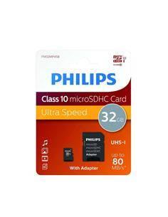 PHILIPS Tarjeta Memoria Micro SDHC 32Gb Con Adaptador Clase 10 A1 UHS-I 80Mb/s