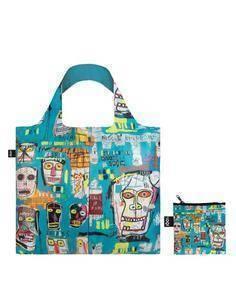 LOQI JB.SK Bolsa Plegable Jean Michel Basquiat Bolsa Calaberas 50x42Cms/ Hasta 20Kg de Carga