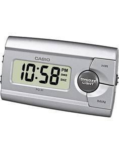 CASIO Reloj Despertador Mod PQ-31-8EF Plata Beep, Led, 12, 24