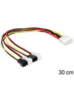 DELOCK 83343 Cable Molex 4 Pines Macho a 4x2 Pines Ventilador 30cm