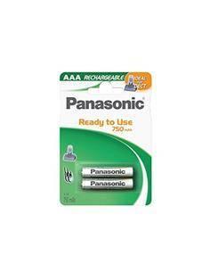 PANASONIC Pack 2 Pilas Recargable AAA 750mAh Ya Cargada lista para usar ya.