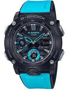CASIO BRAND GA-2000-1A2ER Reloj G-Shock Analogico, Hora Mundial, 5 Alarmas,Correa Resina Azul