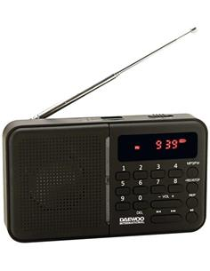DAEWOO Radio Bolsillo Digital AM/FM DRP-122B Negra con Altavoz, Aux-In, USB, Micro USB