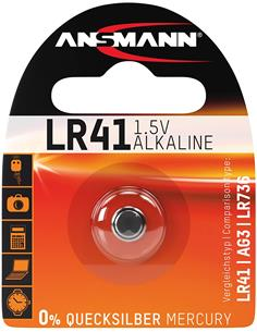 ANSMANN Pila Boton LR41/ AG3/LR736 Alkalina  0% MERCURIO 1.5V