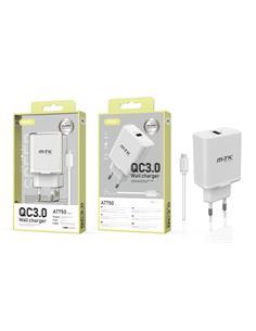 MTK Cargador Red Usb + Cable Datos Tipo-C AT750 Carga Rapida 5A Blanco