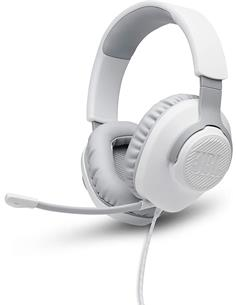 JBL Micro Auricular Casco Gaming Para PC,PS4,Xbox One,Switch QUANTUM 100 Blanco Con Cable,Jack 3.5m
