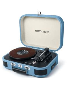 MUSE Maletin Tocadisco Bluetooth MT-201 Azul Usb, Rca, Aux In