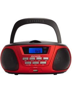 AIWA Radio CD Portatil Bluetooth BOOMBOX BBTU-300RD Rojo Usb,Mp3,Aux In