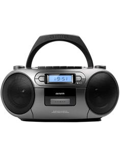 AIWA Radio Cassette CD Portatil Bluetooth BOOMBOX BBTC-550MG Gris l Usb,Mp3,Aux In,FM PLL,6W