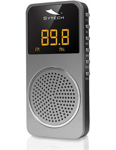 SYTECH Radio Portatil Bolsillo Digital FM SY-1676 PL Plata Micro Sd,40 Presintonias