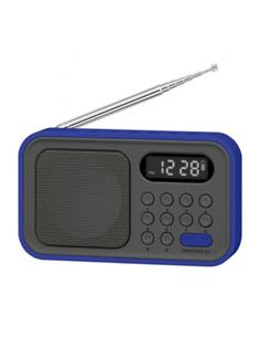 SYTECH Radio Portatil Digital AM/FM SY-1648 Azul Funcion Reloj y Despertador