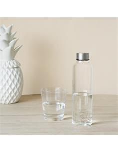 BALVI Botella de Agua Cristal 0.5ml Diseño H2O En el Interior