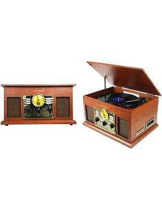 SUNSTECH Tocadisco Madera PXRC5 Con Radio AM/FM, Usb,Lector Tarjeta SD, Reproductor CD