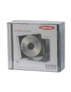 EDNET 64034 Pack de 10 Cajas CD, DVD Vacia Simple Transparente Slim