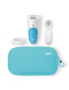 BRAUN Depiladora Silk Epil 5 SE 5-545GS Recargable Seco/Mojado Con 3 Accesorios Cepillo Facial Azul
