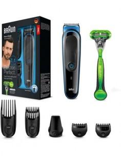 BRAUN Afeitadora de Barba, Cuerpo, Cortapelo 7 En 1 MGK3042 Recargable, Lavable+ Maquinilla Gillette