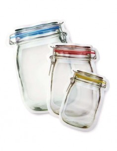 KIKKERLAND Zipper Bags Set de 4 Bolsas Con Cierre Reutilizable 150ml Libre BPA,PVC CU-145S