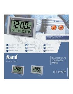 SAMI Reloj Digital Sobremesa/Pared Con Temperatura LD12502