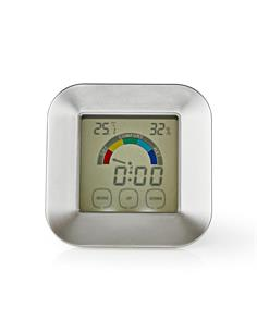 NEDIS Mini Estacion Barometrica Con Higrometro, Temperatura, Hora Pantalla Tactil KATR105SI