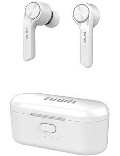 AIWA Auriculares Bluetooth MY PODS Ergonomicos Blanco Estuche de Carga, Resistente al Agua