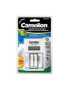 CAMELION Cargadori Rapido de Pilas AA/AAA Ni-Mh Recargable BC-1012 Con 2X Pilas AA 2300mAh/2X AAA 80