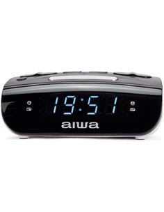 AIWA Radio Reloj Despertador CR-15 Con Doble Alarma, 20 Presintonias Negra