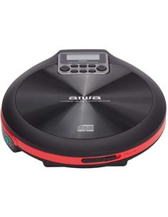 AIWA  Reproductor CD Portatil Discman PCD-810RD Negro Rojo  Anti Shock Incluye 2X Pilas, Auricular