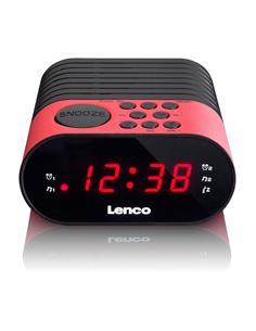 LENCO Radio Reloj Despertador Digital CR-07 Dual Alarma Negro Rojo