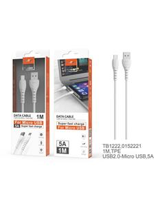 MTK Cable Datos Micro Usb 1Mtr 5A Blanco TB1222