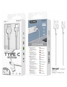 MTK Cable Datos Tipo C 2.0A 2Mtrs Blanco TB1247