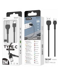 MTK Cable Datos Tipo C 2.0A 2Mtrs Negro TB1247