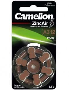 CAMELION Pack De 6 Pilas Boton A312 Audifono Zinc Air 1.4V
