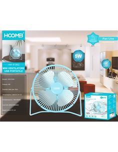 HOOMEI Mini Ventilador Sobremesa HM-8106G Por Usb Metalico Azul 5W