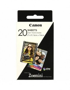 CANON Papel Fotografico 20 Hojas Zink Zoemini 2x3mm/5cm x 7.6cm