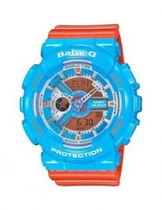 CASIO BRAND BA-110NC-2AER Azul/Naranja Reloj Baby-G Hora Mundial, Fecha, 5 Alarmas, Resistente al Ag
