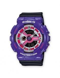 CASIO BRAND BA-110NC-6AER Violeta Reloj Baby-G Hora Mundial, Fecha, 5 Alarmas, Resistente al Agua, C